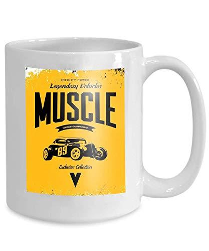 mug coffee tea cup vintage custom hot rod logo yellow premium quality old sport car logotype t emblem 110z