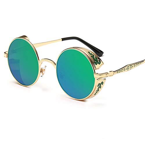 Nosii Retro Steampunk Stil Sonnenbrille Runde Linse Metall Hohl Rahmen Vintage Brillen für Männer Frauen (Color : Gold Frame+Green Film)