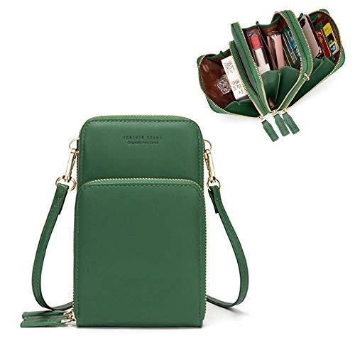 Damen Handtaschen Schultertasche Umhängetasche Kunstleder 3 Reißverschluss Beutel Vielen Fächern Kartenfach Geldbörse Portemonnaie für iPhone 5/6/7/8/X Plus Samsung S5/S6/S7 bis 6.5