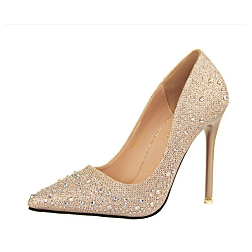 HBOS Damen Pumps Stylish Zart Elegant Schlank Dünn Spitz Diamant-Schuhe