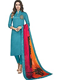Vasu Saree Sky Blue Heavy Jam Cotton With Designer Hand Work Long Stitched Suit