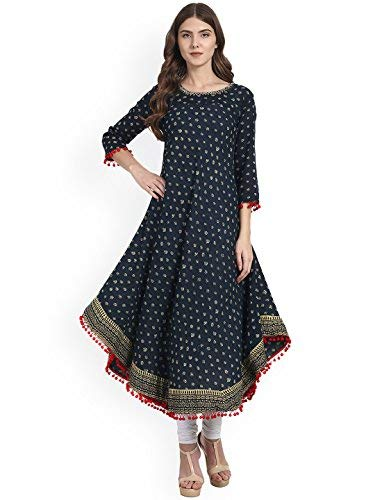 Amayra Women's Cotton Anarkali Kurti (Blue, XXL)