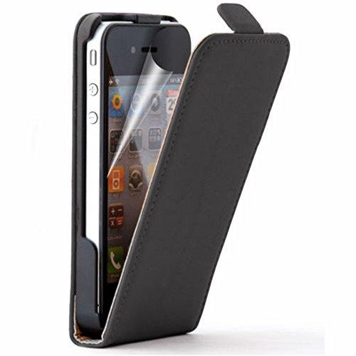 VComp-Shop® PU-Leder Handy Schutzhülle mit einer vertikalen Klappe für Apple iPhone 4/ 4S/ 4G + Großer Eingabestift - SCHWARZ SCHWARZ