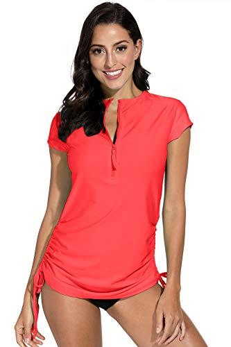 BesserBay Damen Bademode Rash Guard UV Shirts Kurzarm Tankini UPF 50+, Wassermelone Rot, Gr.- 42 EU/ XL
