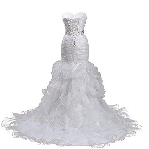 meibida femmes sans manches de sirène robes de mariage en organza Sweetheart robe longue dos nu mariée Blanc