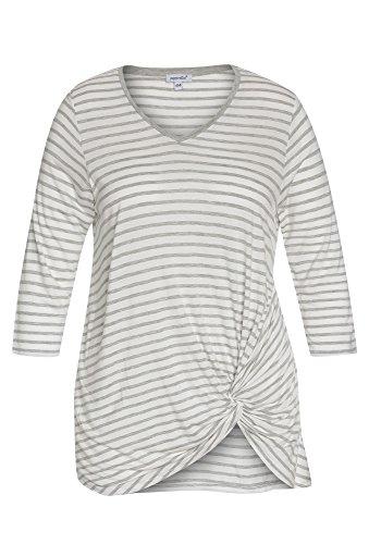 Peppermint Plus Size - Gestreiftes Shirt mit Knoten - Damen Oberteil Frauen Große Größen 3/4 Casual Streifen Hellgrau-Weiß,48 (T-shirt Size Gestreiften Plus)