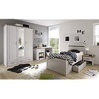 Luca 3 Jugendzimmer Set Komplettset Kinderzimmer Schlafzimmer Pinie Weiß preisvergleich bei kinderzimmerdekopreise.eu