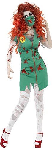 Smiffys, Damen Zombie-OP Schwester Kostüm, Kleid und Maske, Größe: L, (Halloween Dress Fancy Damen)