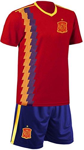 Blackshirt Company Spanien Kinder Trikot Set Fußball Fan Zweiteiler Rot Blau Größe 152
