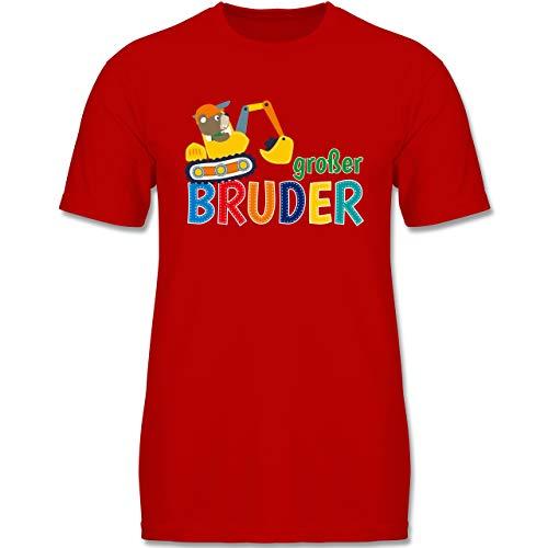 Geschwisterliebe Kind - Großer Bruder Bagger - 98-104 (3-4 Jahre) - Rot - F140K - Jungen T-Shirt