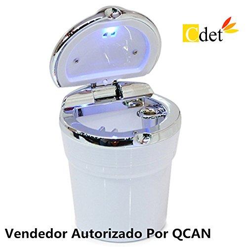 Cdet Coche cenicero coche con cinturón con cinta sellada con luces LED cenicero portátil para coche Blanco