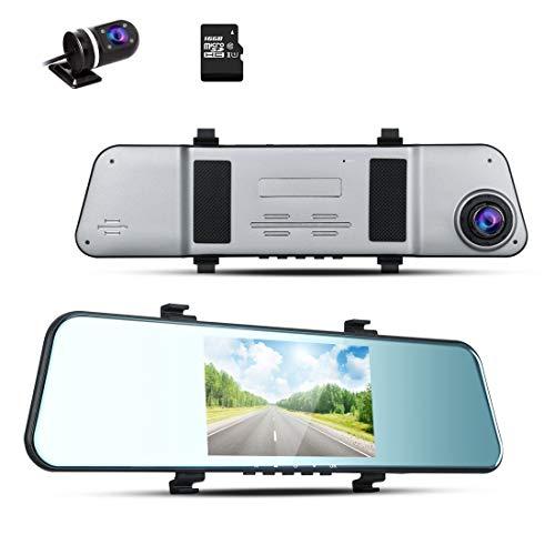 BLUEPUPILE® 1296P Dash Cam FHD videocamera da cruscotto registratore Dual Lens Mirror Driving Recorder con 170° ultra-grandangolo e 5 pollici IPS funzione ADAS G-sensor 16 GB TF Card inclusa