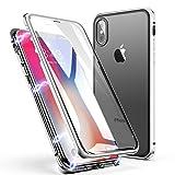 Coque iPhone X/XS, Coque ZHIKE pour Adsorption Magnétique Avant et Arrière Verre Trempé Couverture Plein écran Couverture à Rabat Design en Une Pièce pour Apple iPhone X/XS (Blanc Clair)