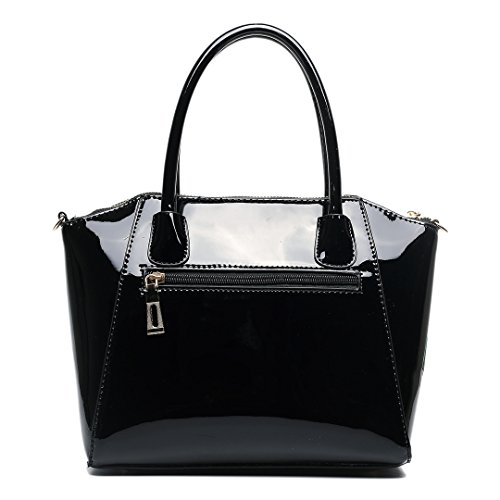 Miss LuLu Modern Damentasche Winged Bürotasche Hobo Bag Handtasche Groß PU-Leder Multifunktion (E1639-Blumen/Pink) E1639-Schwarz/Pink
