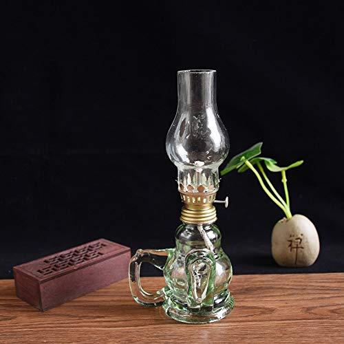 KMYX Lámpara de Aceite de Vidrio Tradicional Lámpara de Queroseno Lámpara Antigua Lámpara para adorar a los Dioses Buda Lámpara de Emergencia clásica Lámpara Decorativa casera