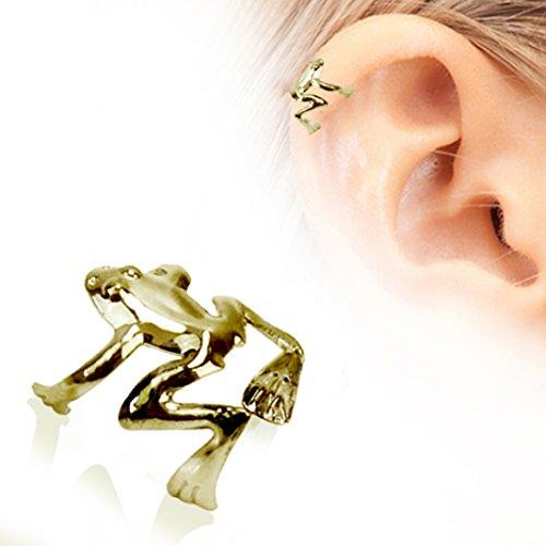 Gold überzogenes antike Baum-Frosch-Klipp auf gefälschte Cartilage Ober Ear-Ohrring, kein Piercing Pflicht