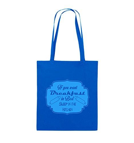 Comedy Bags - If you want Breakfast in Bed - KITCHEN - Jutebeutel - lange Henkel - 38x42cm - Farbe: Schwarz / Pink Royalblau / Blau