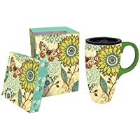 17 oz. Nature's Garden Ceramic Latte Travel Cup with Gift