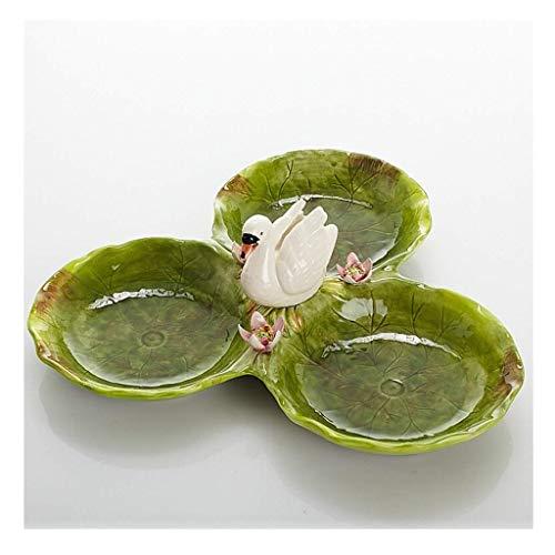 Keramik Obstteller Nordic Handgemalte Swan Drei Gitter Snack Candy Dish Home Wohnzimmer Tischdekoration Größe: 33,5 Cm Swan Candy Dish
