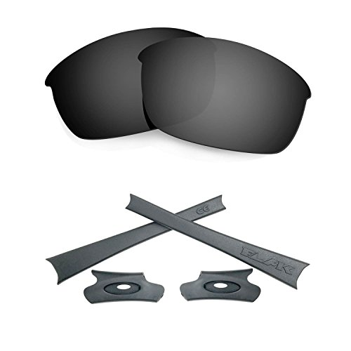 HKUCO For Oakley Flak Jacket Black Polarized Replacement Lenses And Grey Earsocks Rubber Kit