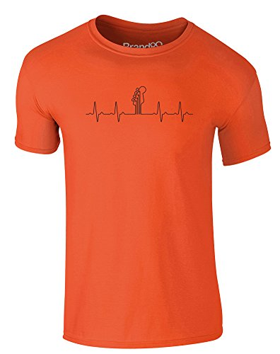Brand88 - Bass In Your Heart, Erwachsene Gedrucktes T-Shirt Orange/Schwarz