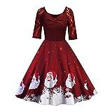 MRULIC 2018 Damen Weihnachts Frauen Langarm Rundhals Druck Vintage Kleider Abend Party Kleid Festliche Damen Ballkleider Tolle(E-Rot,EU-38/CN-L)