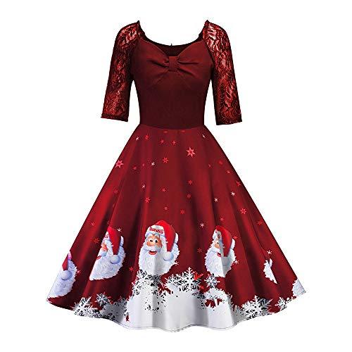 VEMOW Herbst Mode Elegant Damen Abendkleid Frauen V-Ausschnitt Bänder Frohe Weihnachten Weihnachtsmann Print Party Dating Midi Kleid(X2-Rot, 38 DE/XL CN)