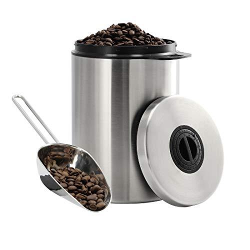 Xavax Kaffeedose, luftdicht, für 1kg Kaffeebohnen, Edelstahl Kaffeebehälter mit Schaufel, Aroma-Verschluss, auch zur Aufbewahrung von Tee, Kakao, Pulverkaffee, Nudeln, Vorratsdose, Teedose silber