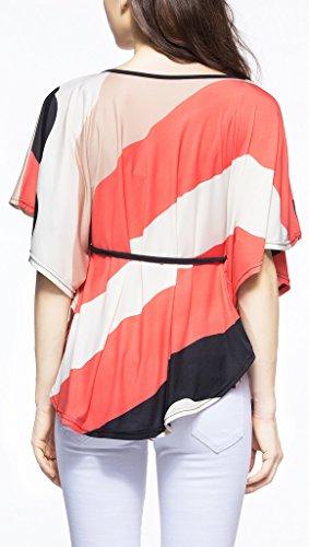 Damen T-Shirt Sommerbluse Shirt kurzarm fledermausärmel rundkragen ausschnitt schräg gestreift locker plus size Belt Orange
