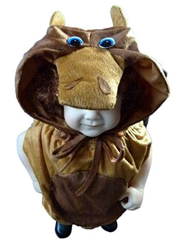 Baby Bauer Kostüm Mädchen - Stier-Kostüm, An66 Gr. 74-80, Stiere Bullen für Klein-Kinder, Stier-Kostüme Babies, Kinder-Kostüme Fasching Karneval, Kinder-Karnevalskostüme, Faschingskostüme, Geburtstags-Geschenk