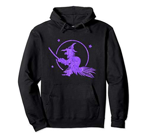 Hexe fliegt auf einem Besen - Vollmond Sterne Wicca Kostüm Pullover - Pagan Hexe Kostüm