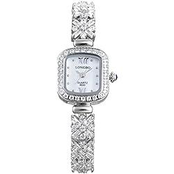 LONGBO Womens Luxury Stainless Steel & Rhinestone Band Roman Numral Bangle Watch Silver Square Case Bracelet Wrist Dress Watches Lady Rhinestone Crystal Analog Quartz Wedding Watches