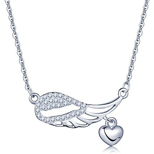 Unendlich U Modisch Engelsflügel Herz Damen Halskette 925 Sterling Silber Zirkonia Anhänger Verstellbare Kette, Silber