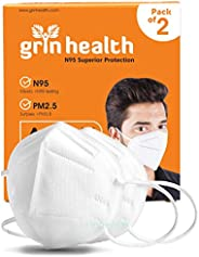 Grin Health N95 Mask for Air Pollution with 5 Layer Protective Filters (White: Pack of 2)
