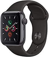 Apple Watch Series 5 (GPS, 40‑mm) kast van spacegrijs aluminium zwart sportbandje