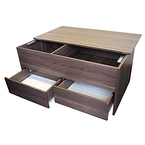 Redstone Dark Walnut Coffee Table - Slide Top with Storage Inside and 2 Drawers - Wooden Ottoman Storage Chest