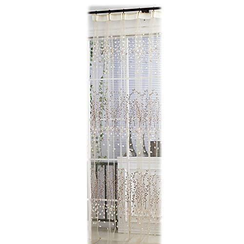 Pondkoo 1pc moderno wintersweet stampa tulle tenda di finestra trattamento voile tessuto pannello drappo mantovana per soggiorno camera da letto 100x 270cm khaki