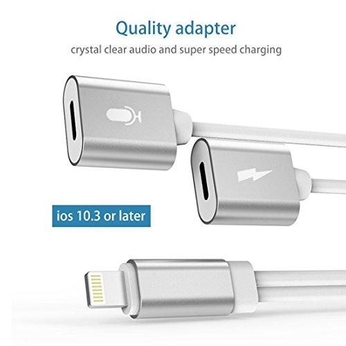 iphone 7 lightning l adattatore, doppia funzione fulmini della jack divisore con estensione lightning - port supporta la musica & caricabatterie compatibile con ios10.3 & call White- Silver