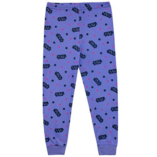 41FRRiTUOSL - STAR WARS Pijamas de Manga Larga para niñas La Guerra de Las Galaxias Púrpura 7-8 Años
