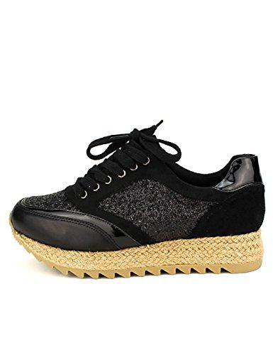 Cendriyon, Basket Mode Espadrilles Black Creation Chaussures Femme