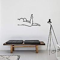 Wandaufkleber,Ins Einfache Linien Hintergrund Wandaufkleber Persönlichkeit  Spaß Schlafzimmer Aufkleber Aufkleber Invertierte Große Lange Beine