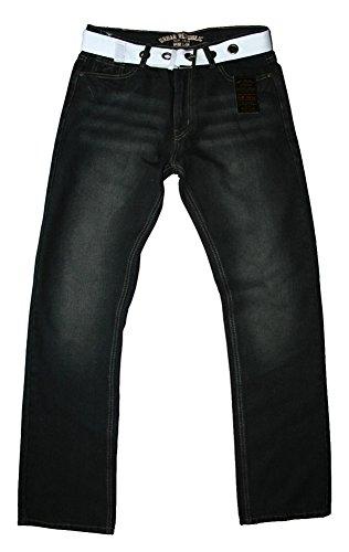 Urban Republic schwarz wash comfort fit jeans mit gürtel herren Schwarz Wash