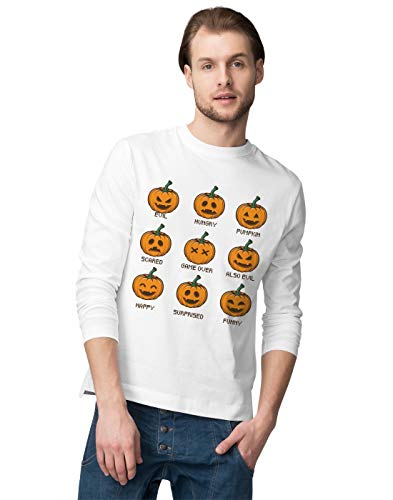 range Pumpkin Moods with Many Funny Faces Herren Langarmshirt M ()