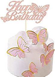 Happy Birthday Cake Topper with 3D Butterfly and 10Pieces Butterfly Cupcake Toppers Glitter Pink Butterfly Cak