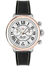 Glam Rock Bal Harbour Damen-Armbanduhr 40mm Armband Leder Schwarz Gehäuse Edelstahl Batterie GR77123N