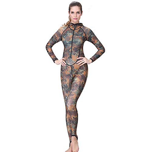 HOMELECT Paar Anzug Camo Skin Tauchanzug Einteiler mit Kapuze Jump Uv Proction Sonnencreme Männer Frauen Tauchanzug,Women(withhood),XS