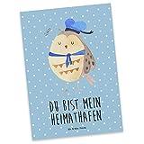 Mr. & Mrs. Panda Postkarte Eule Matrosen - 100% handmade in Norddeutschland - Geschenkkarte, Eule Deko, Postkarte, Karton, Seefahrer, Einladung, Papier, Grußkarte, Hochzeitstag Geschenk , Heimathafen, Eule Spruch, Karte