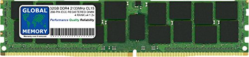 GLOBAL MEMORY 32GB DDR42133MHz, PC4-17000288-pin ECC Registered DIMM (RDIMM) Arbeitsspeicher für Servers/WORKSTATIONS/MAINBOARDS (4, Rank Chipkill,) - Ecc, Registered Quad