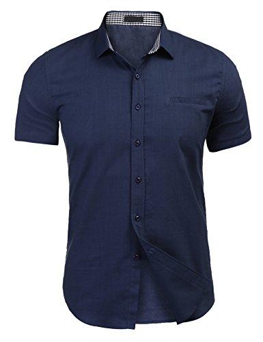 Blaus Hemd Herren Leinenhemd Sommer Shirt Kariert hemd marine blau m