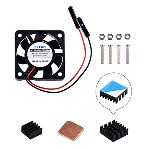 GeeekPi Raspberry Pi Cooling Fan 30 x 30 x 7 mm DC 5 V Brushless Cup Lüfter mit Raspberry Pi Kühlkörper für Raspberry Pi 3/2 Modell B, Raspberry pi 3B + & retroflag nespi Fall Plus (1-Pack) -